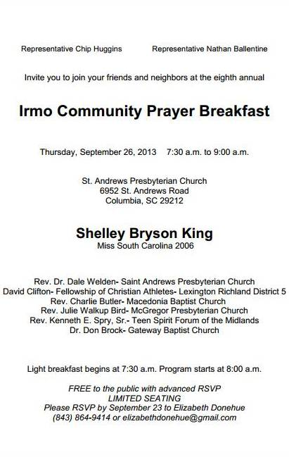8th annual irmo community prayer breakfast thecheapjerseys Image collections